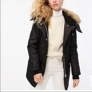 J. Crew Perfect Winter Parka puffer jacket black